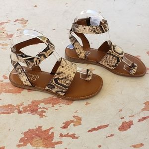 New Franco Sarto snake skin strappy sandals
